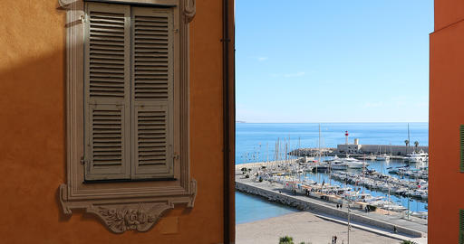 Beautiful Window Decorated Picturesque In The Old Town Of Menton ビデオ