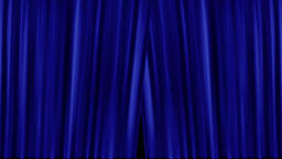 Opening and closing blue cinema / theatre curtains with film countdown Animation