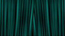 Opening and closing teal cinema / theatre curtains with film countdown Animation