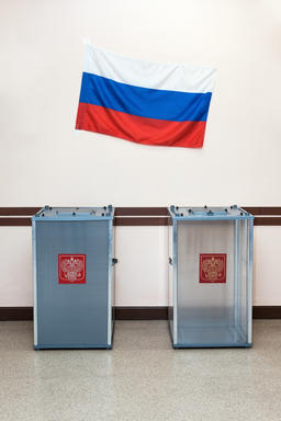 Two ballot boxes for voting in the elections in Russian Fotografía