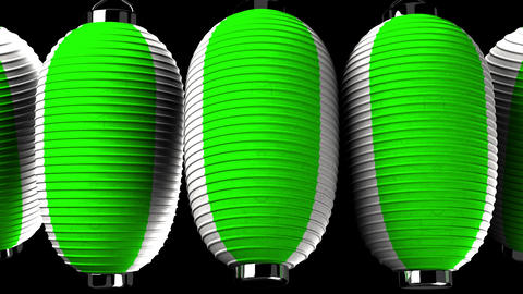 Green and white paper lanterns on black background Animation