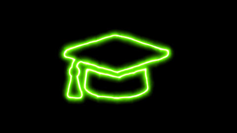 The appearance of the green neon symbol graduation cap. Flicker, In - Out. Alpha Animation