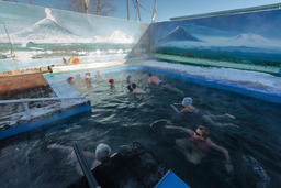 People swimming in spa pool with natural thermal water Fotografía