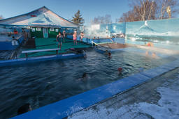 people bathing in spa pool with natural thermal mineral water Fotografía