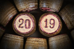 Vintage lotto kegs with numbers 20 and 19 as symbol 2019 year Fotografía