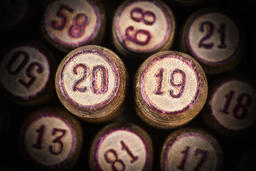 Wooden vintage lotto kegs with two numbers 20 and 19 as symbol of 2019 New Year Fotografía