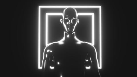 4K Stylized Artificial Intelligence. 3D CGI animation Footage