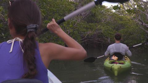 Kayak - Kayaking woman on kayaking travel adventure in Florida Footage