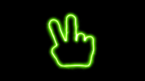 The appearance of the green neon symbol hand peace. Flicker, In - Out. Alpha Animation