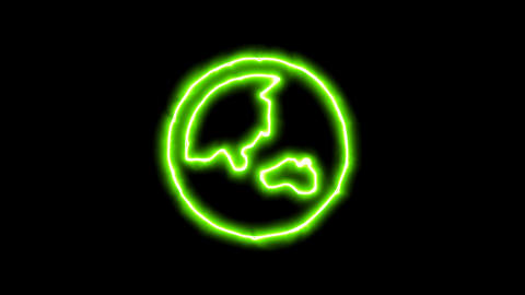 The appearance of the green neon symbol globe asia. Flicker, In - Out. Alpha Animation