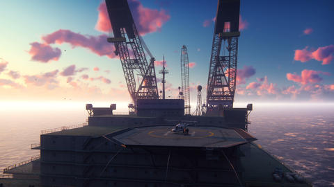 Oil drilling platform, offshore platform, or offshore drilling rig in sea at GIF