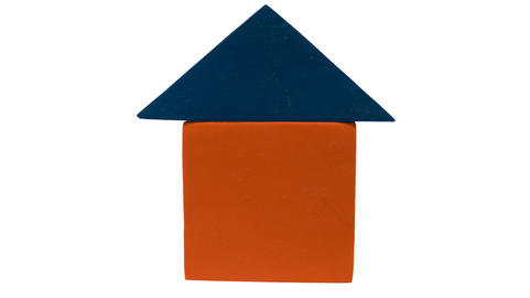 toy house of foam blocks of two colors Photo