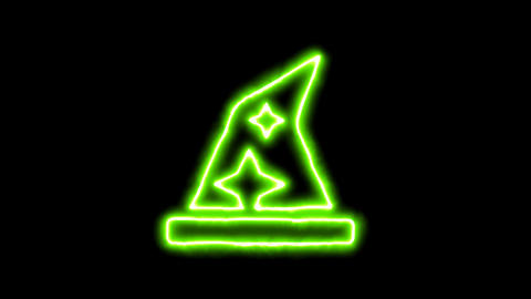 The appearance of the green neon symbol hat wizard. Flicker, In - Out. Alpha Animation