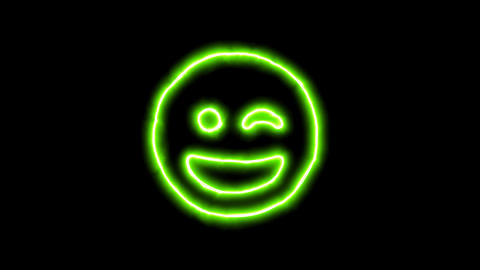 The appearance of the green neon symbol grin wink. Flicker, In - Out. Alpha Animation