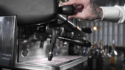 Steaming coffee machine, making of capuccino and latte,milk foam, coffee with Footage