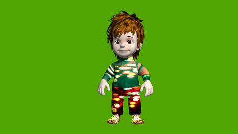 Animated small boy cartoon animation set on a green background Animation