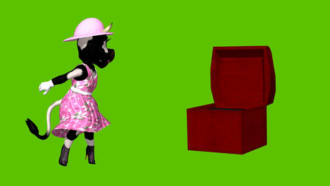 animation Sexy cartoon cow with opening box set against a green background Animation