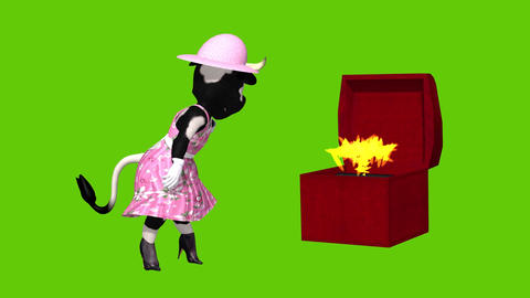 animation Sexy cartoon cow with opening box set against a… Stock Video Footage