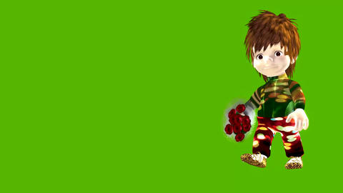 Animated cartoon small boy with flowers Animation