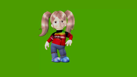 small cartoon girl talks with a green screen background Animation