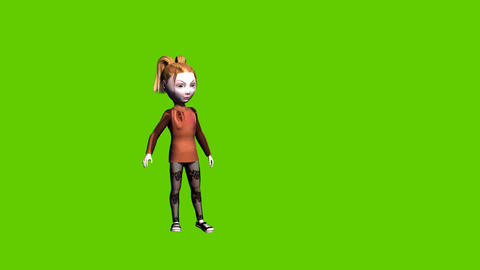 Animated small girl looks arround on a Green screen background Animation