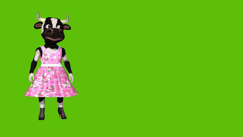 Animated cartoon sexy charming cow on a green background Animation
