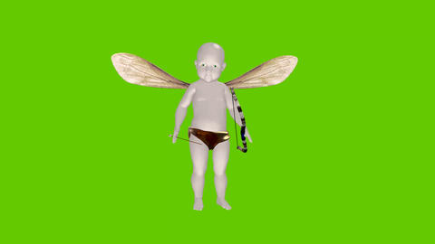 Cartoon Cupid with bow and a Green screen background Animation
