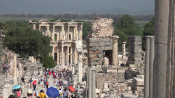 Turkey Ephesus Ephesos Efes many tourists on Curetes Street to Celsus Library GIF