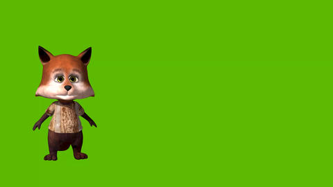 Funny cartoon animated fox on a green background Animation