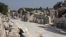 Turkey Ephesus Ephesos Efes columns, stones and artifacts along Curetes Street 영상물