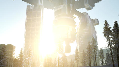 Alien spacecraft is hovering above the city Footage