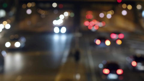 Urban scene blurred night traffic in Barcelona.Time Lapse Live Action