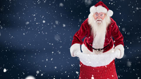 Santa clause combined with falling snow Animation
