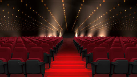 Cinema seats auditorium with flashing lights Animation