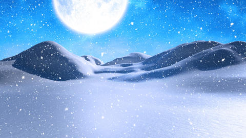 Winter scenery with full moon and falling snowfalling snow Animation