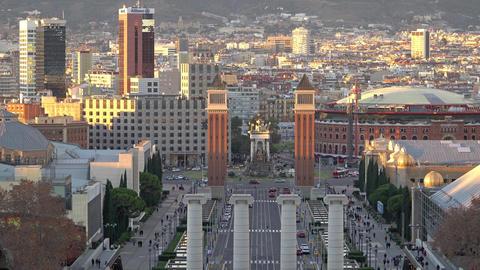 BARCELONA, SPAIN - CIRCA 2019: Morning in Barcelona Plaza de Espana, Plaza of Footage