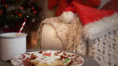 Video composition with falling snow desk with festive food Animation