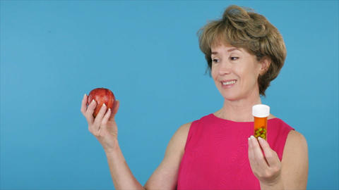woman chooses apple over pills Live Action