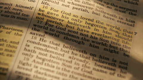 closeup John 16 in bible Footage