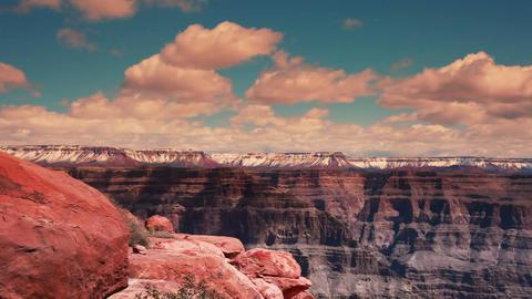 Pan Rocks To Grand Canyon stock footage