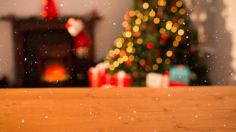 Falling snow and Christmas home Animation