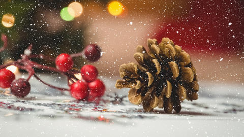 Falling snow with Christmas pine cone Animation