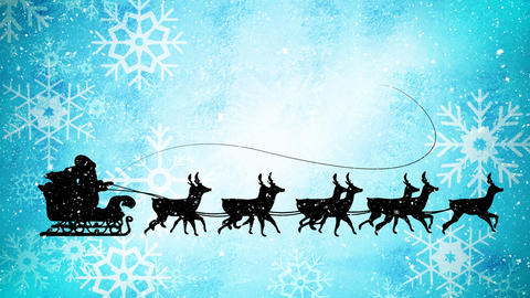 Video composition with snow over night winter scenery with santa on sleigh Live Action