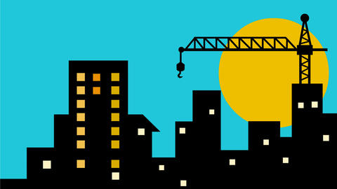 Cityscape Buildings Construction Crane 2D Animation Animation