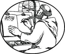 Monastic Monk Writing Illuminated Manuscript Drawing Black and White Vector