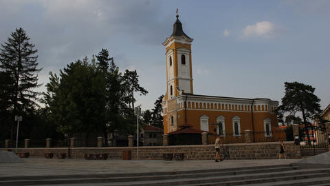 Orthodox church in a town. Clouds over church Footage