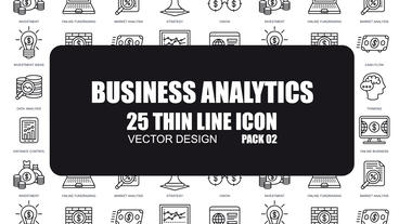 Business Analytics - 25 Thin Line Icons After Effects Template