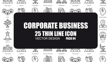 Corporate Business - 25 Thin Line Icons After Effects Template