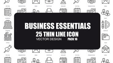 Business Essentials - 25 Thin Line Icons After Effects Template