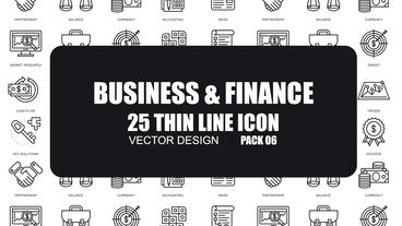Business & Finance - 25 Thin Line Icons After Effects Template